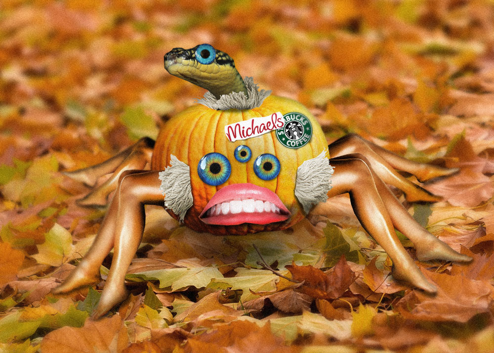 A spider with a pumpkin body, with eight human legs, three colorful glass eyes in the middle of the body, a turned around human mouth and a snake protruding from the top of the pumpkin, resting on a layer of fall leaves.